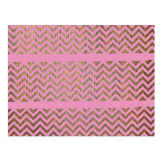 Girly Pink Wood Chevron Zigzag Andes Pattern Postcard