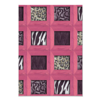 """Girly Pink Wooden Framed Animal Prints 3.5"""" X 5"""" Invitation Card"""