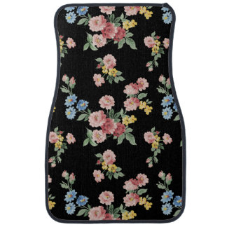Girly Pink, Yellow and Blue Floral Customizable Car Mat