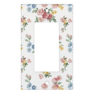 Girly Pink, Yellow and Blue Floral Customizable Light Switch Cover