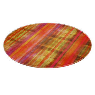 Girly Pink Yellow Red Striped Pattern Cutting Boards