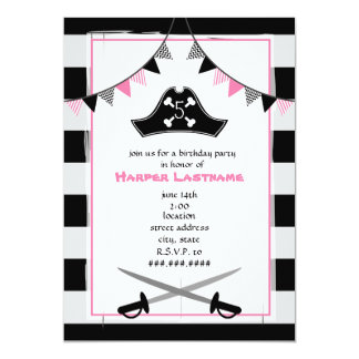 Girly Pirate Birthday Party Invitation
