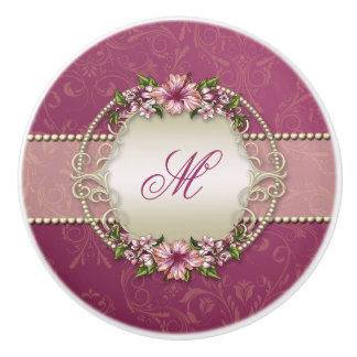 Girly Plum Floral and Damask Monogram Ceramic Knob