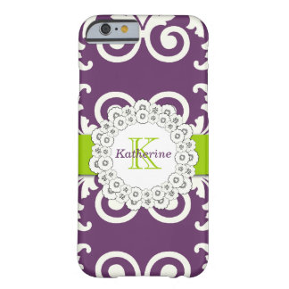 Girly Plum Purple Green Swirls Floral Pattern Barely There iPhone 6 Case