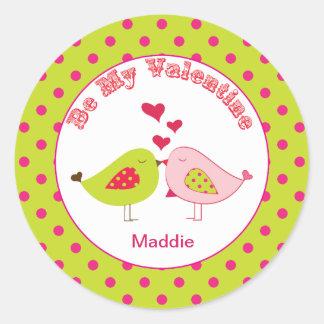 Girly Polka dot Love Birds Valentine Stickers