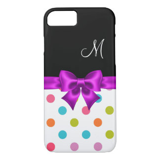 Girly Polka Dot Monogram Design iPhone 8/7 Case