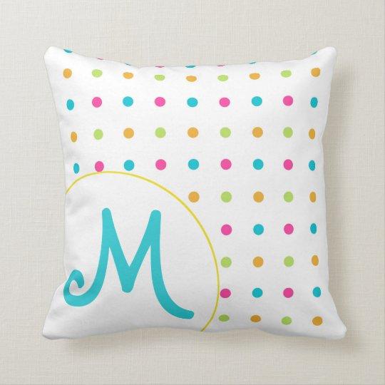 Girly Polka Dot Monogrammed Pillow