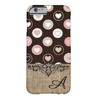 Girly Polka Dots and Burlap Pattern With Monogram Barely There iPhone 6 Case