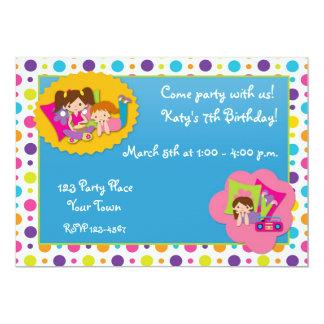 Girly Polka Dots Birthday Party Invitation