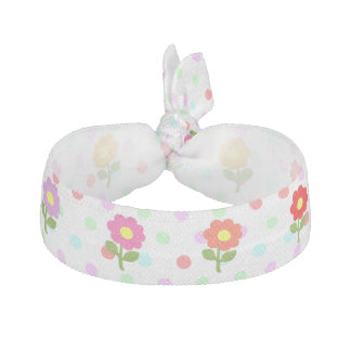 Girly Polka Dots Daisies Hair Tie