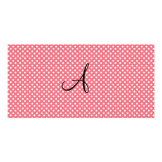 Girly Polka dots pink white monogram Photo Greeting Card
