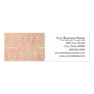 Girly Powder Puff Pink Peach Damask Mini Business Card