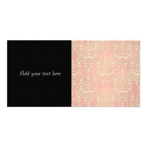 Girly Powder Puff Pink Peach Damask Photo Cards