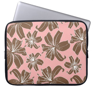 Girly Pretty Pink and Brown Floral Print Line Art Laptop Sleeve