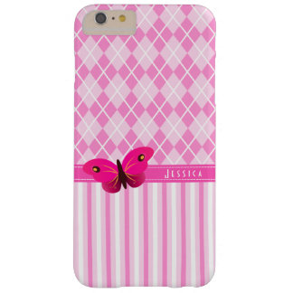 Girly Pretty Pink Argyle and Stripes Butterfly Barely There iPhone 6 Plus Case