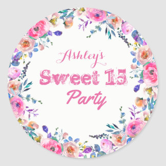 Girly Pretty Tropical Pink Flower Sweet 15 Classic Round Sticker
