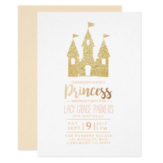 "Girly Princess Birthday   Themed Party 5"" X 7"" Invitation Card"