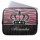 Girly princess pink and black zebra laptop sleeve