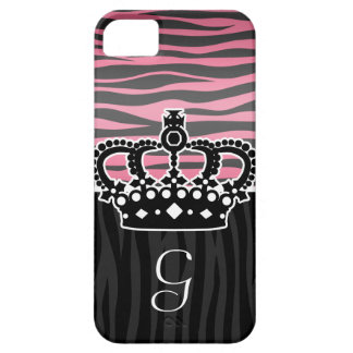 Girly princess pink and black zebra print iPhone 5 cover