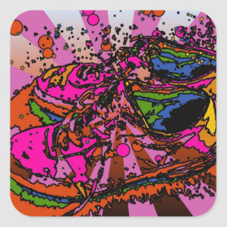 Girly Psychedelic Sneakers Square Sticker