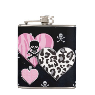 Girly Punk Black Wrapped Flask
