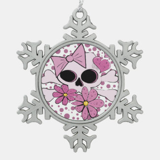 Girly Punk Skull Snowflake Pewter Christmas Ornament