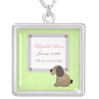 Girly Puppy Dog Baby Girl Birth Announcement Pendants