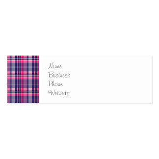 Girly Purple and Pink Plaid Pattern Gifts for Her Mini Business Card