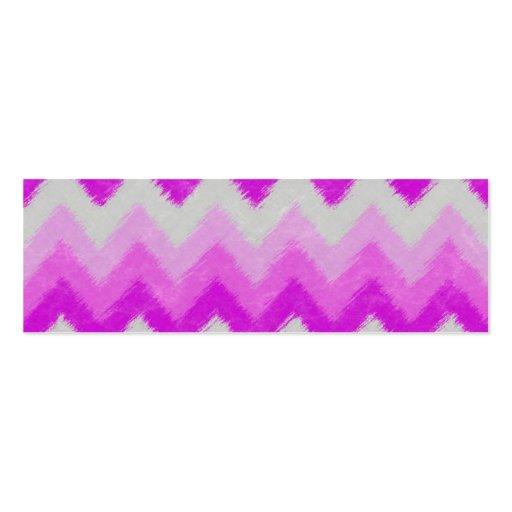 Girly Purple and White Bohemian Chevron Pattern Business Card Template