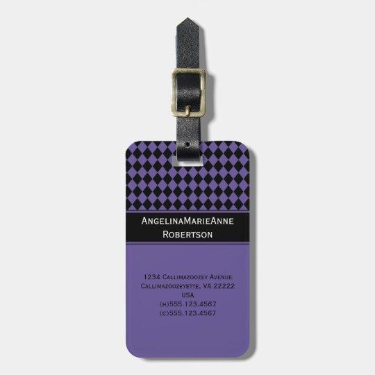 Girly Purple Black Argyle Diamond Pattern Tags