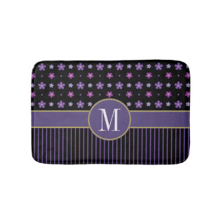 Girly Purple Black Floral Striped Gold Monogram Bath Mat