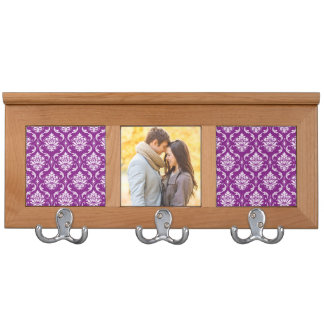 Girly Purple Damask Pattern Coat Racks