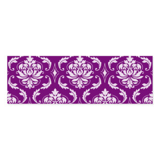 Girly Purple Damask Pattern Mini Business Card