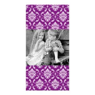 Girly Purple Damask Pattern Photo Card Template