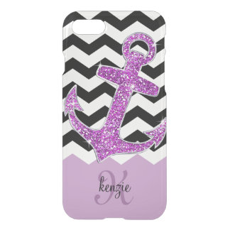 Girly Purple Faux Glitter Anchor Chevron Monogram iPhone 8/7 Case