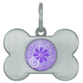 Girly Purple Floral Retro Flowers Pet Name Tags