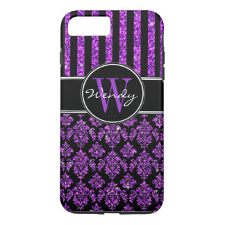 Girly Purple Glitter Black Damask Your Name iPhone 8 Plus/7 Plus Case