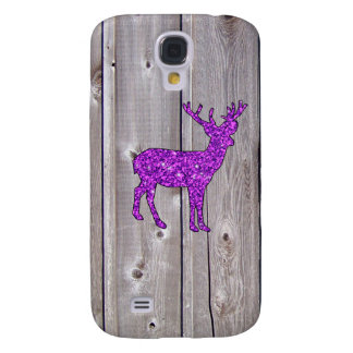 Girly Purple Glitter Deer Rustic Style