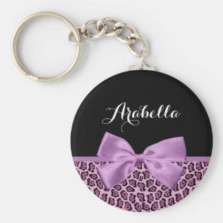 Girly Purple Jaguar Print Cute Bow With Name Keychain