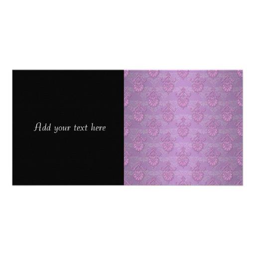 Girly Purple Lavender Damask Photo Card Template