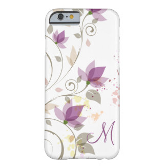 Girly Purple Lavender Floral Monogra Barely There iPhone 6 Case