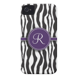 Girly Purple Monogram Zebra Print iPhone 4 Cases