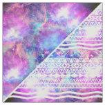 Girly Purple Pink Nebula Space White Tribal Aztec Fabric