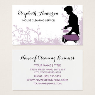 Girly Purple Vintage Maid Silhouette Housekeeping Business Card
