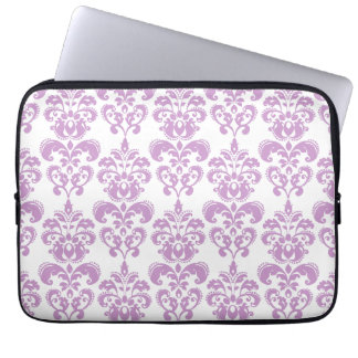 Girly Purple White Vintage Damask Pattern 2 Computer Sleeves