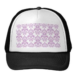 Girly Purple White Vintage Damask Pattern 2 Mesh Hat