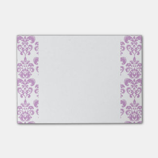 Girly Purple White Vintage Damask Pattern 2 Post-it Notes