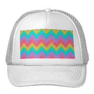 Girly Rainbow Bohemian Chevron Pattern Mesh Hats