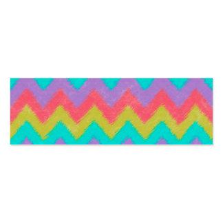 Girly Rainbow Bohemian Chevron Pattern Mini Business Card