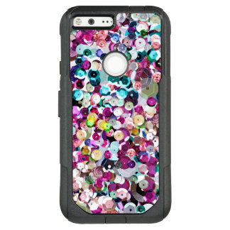 Girly Rainbow Faux Sequins Bling OtterBox Commuter Google Pixel XL Case